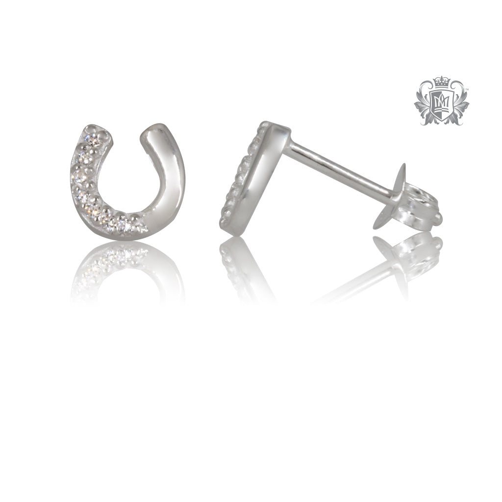 Cubic Horseshoe Stud Earrings Metalsmiths Sterling Silver SIDE