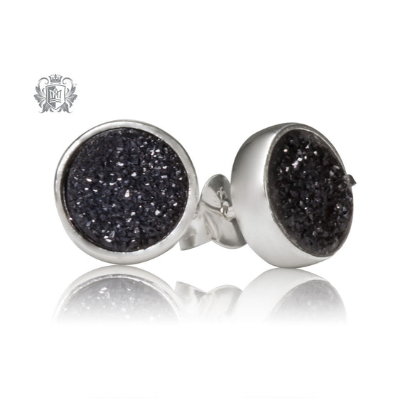 Black Druzy Round Stud Earrings Metalsmiths Sterling Silver