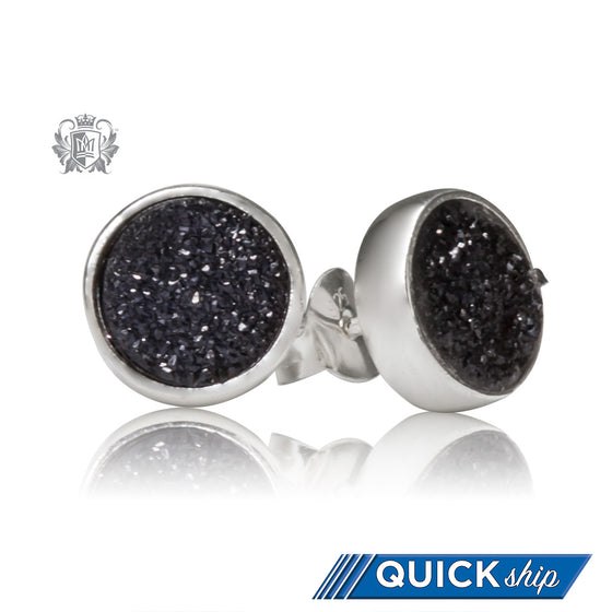 Black Druzy Round Stud Earrings Metalsmiths Sterling Silver Quick Ship