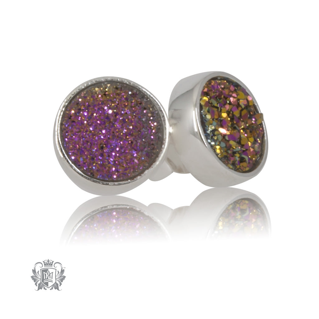 Plum Druzy Round Stud Earrings Metalsmiths Sterling Silver
