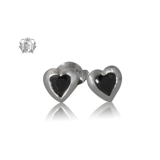 Black Cubic Heart Studs