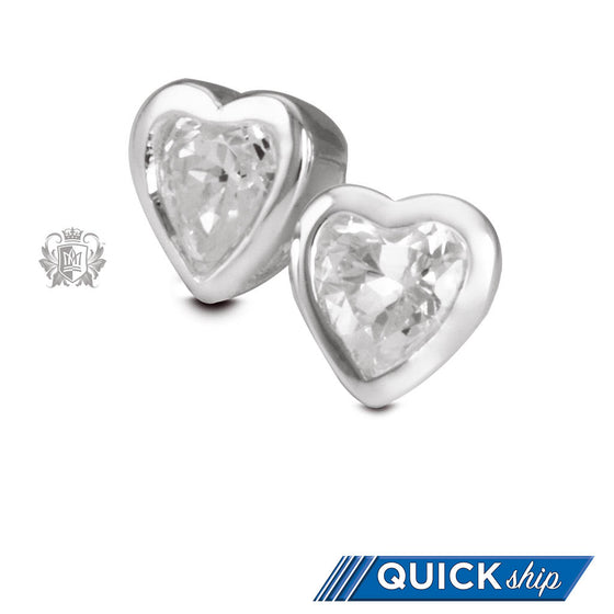 Quick Ship Cubic Heart Studs