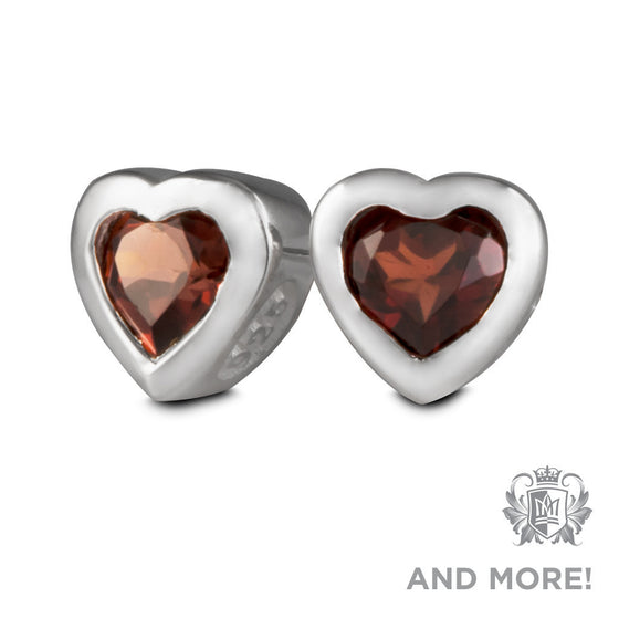 Gemstone Heart Studs - Amethyst, Blue Topaz, Garnet, Cubic - Garnet Gemstone Earrings - 1