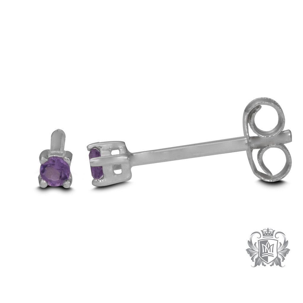 Side View Amethyst Small Prong Set Studs - Metalsmiths Sterling™ Canada