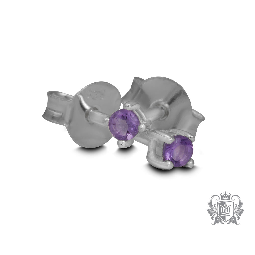 Amethyst Small Prong Set Studs - Metalsmiths Sterling™ Canada