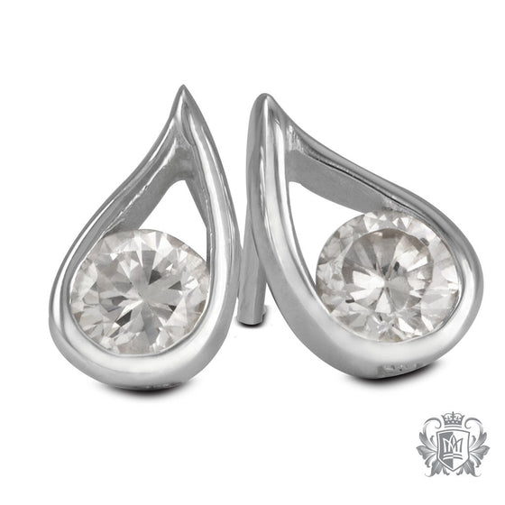 Metalsmiths Sterling Silver Small Pear Cubic Stud Earrings