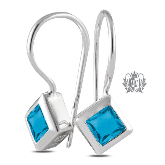 Offset Bezel Hangers - Blue Topaz Gemstone Earrings - 3