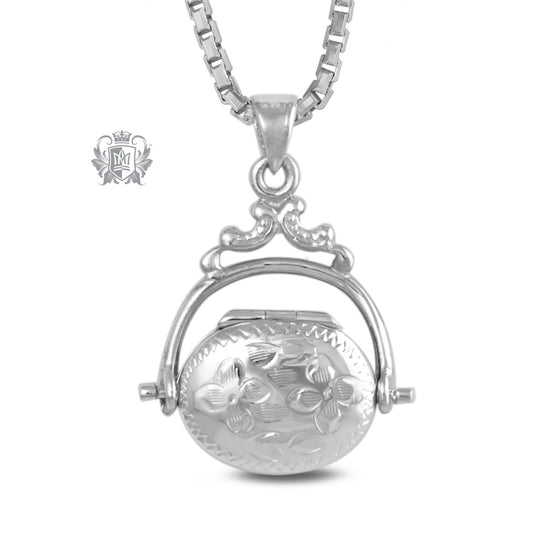 Antique Oval Locket Sterling Silver Front