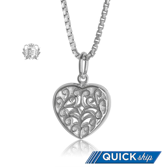 Scroll Heart Locket Sterling Silver Quick Ship
