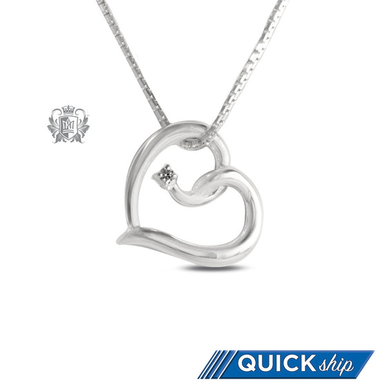 Metalsmiths Sterling Silver Heart Twist Cubic Pendant Quick Ship