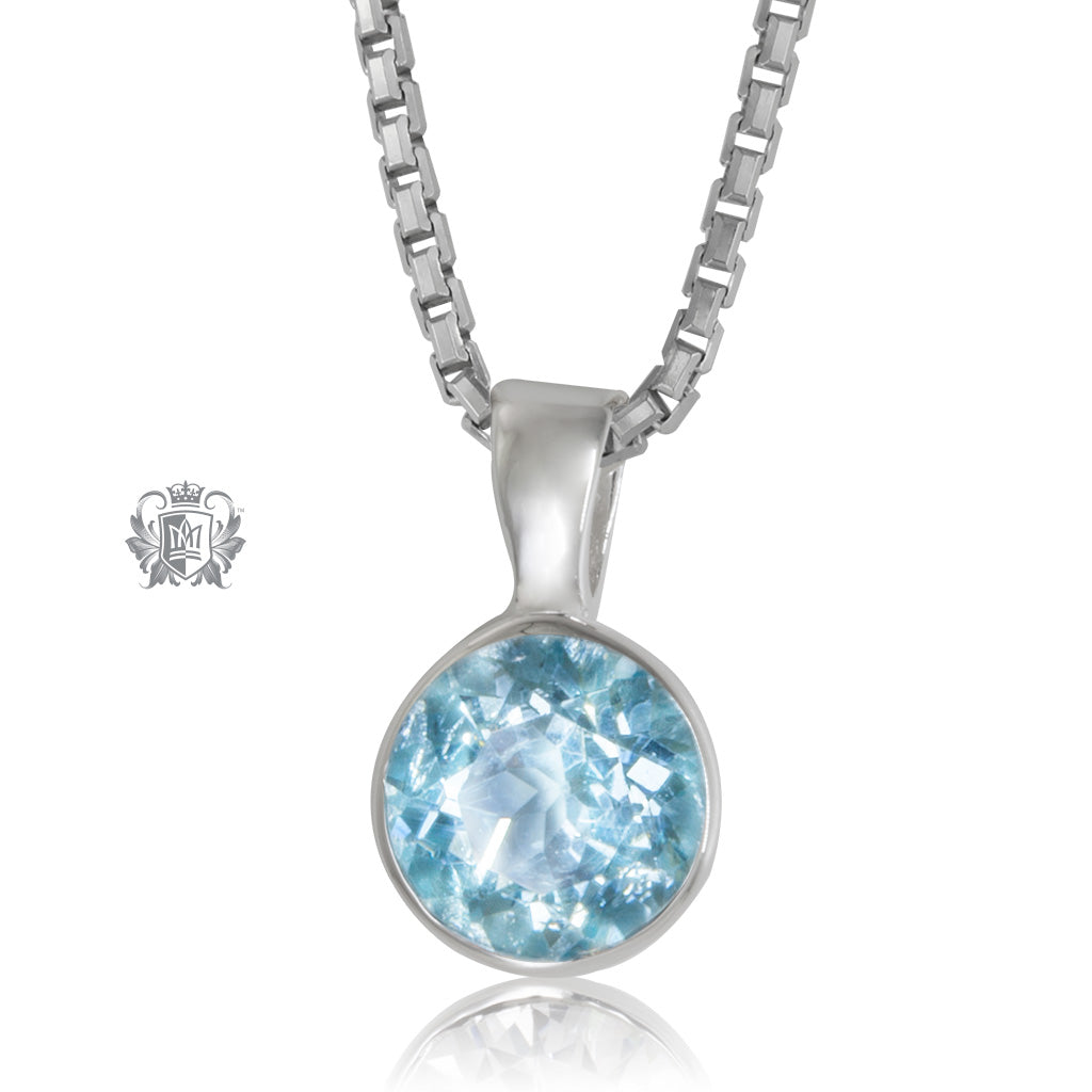 Bezel Set Pendant - Blue Topaz / 18 inch chain Gemstone Pendants - 3