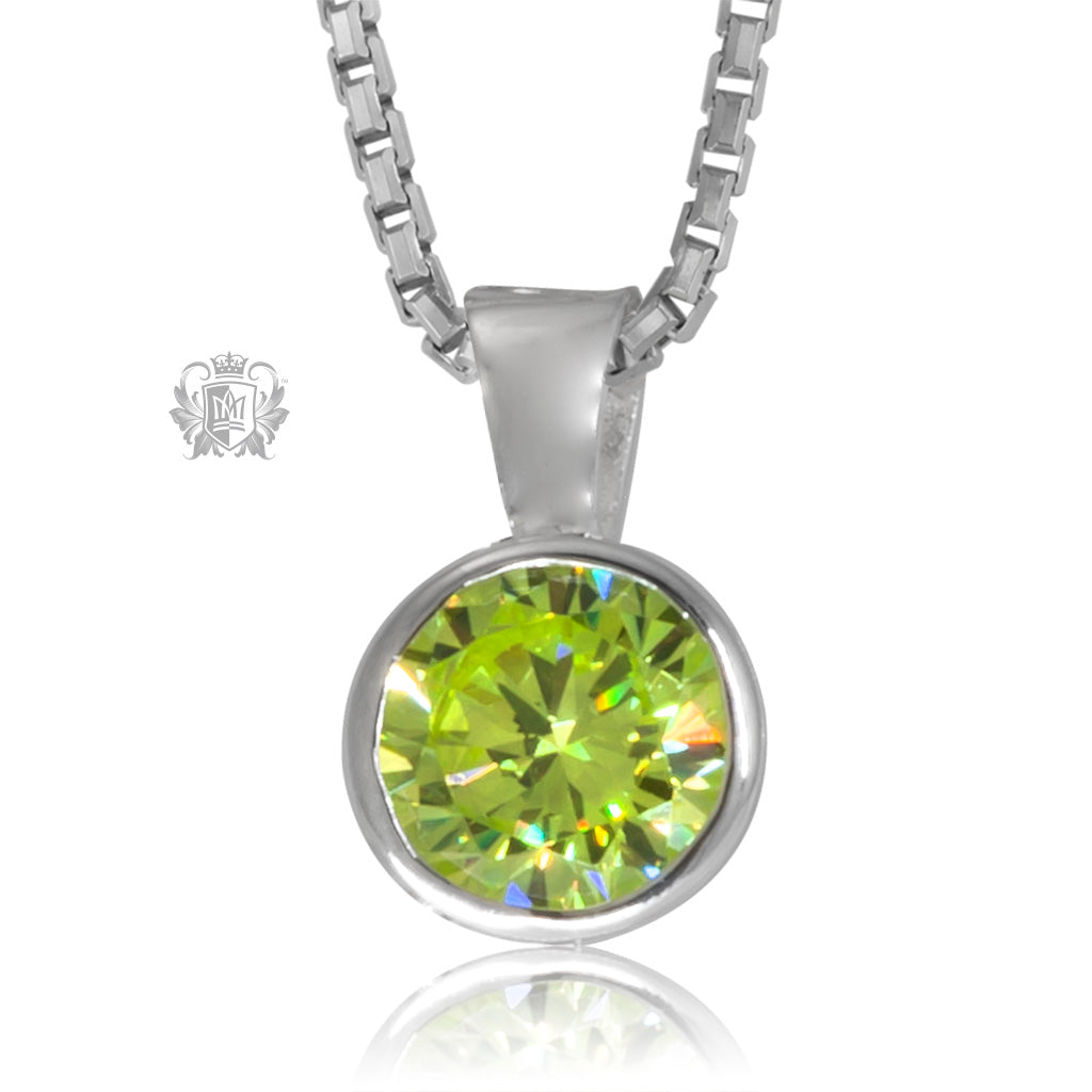 Peridot Cubic Metalsmiths Sterling Silver Bezel Set Pendant