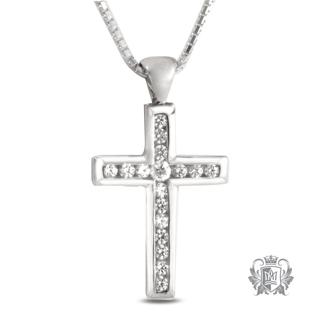 Large Channel Set Cubic Cross - 18 inch chain Gemstone Pendants - 1