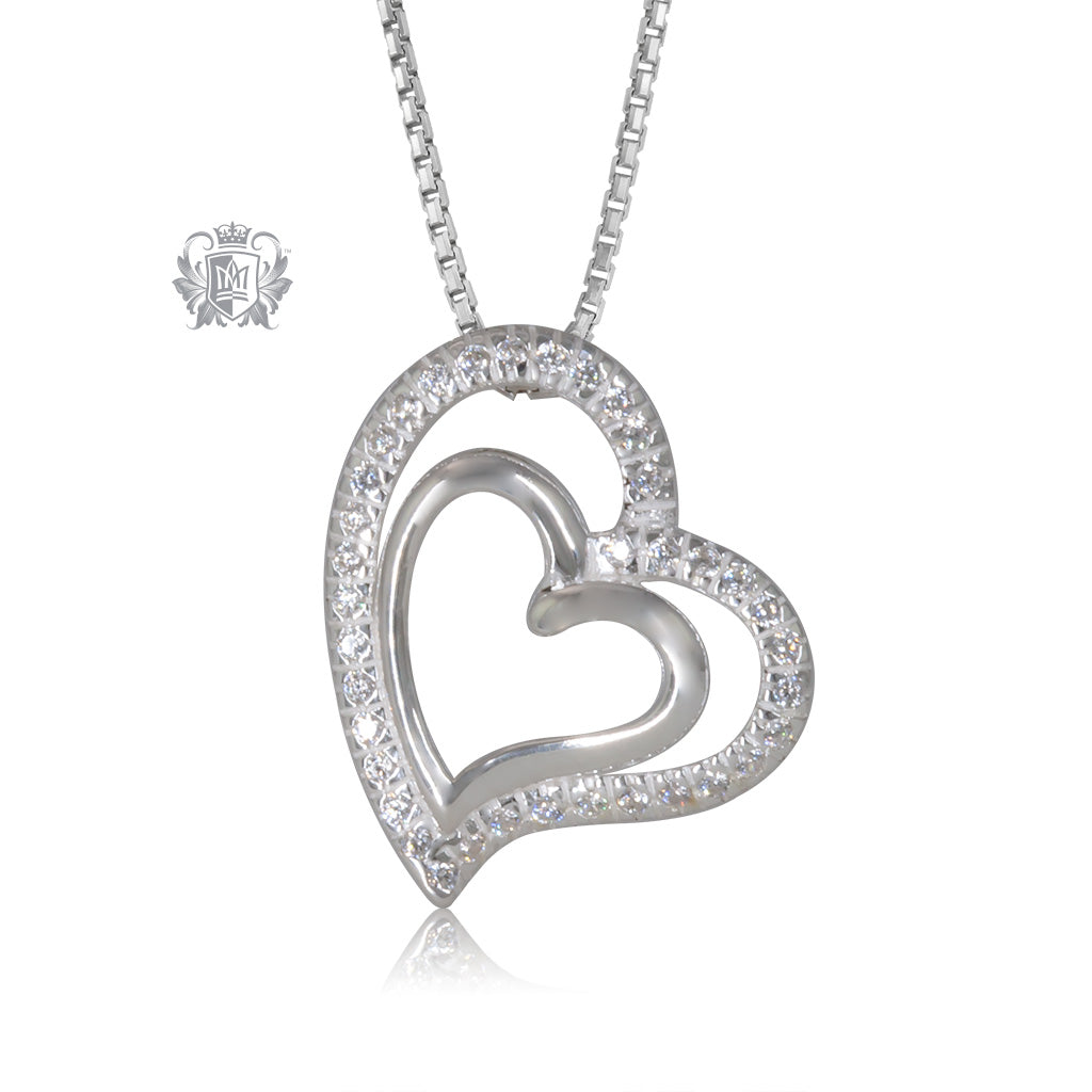 Quick Ship Double Pave Heart Pendant
