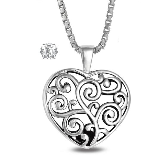 Antique Scroll Heart Pendant Sterling Silver