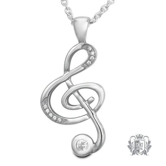 Large Cubic Treble Clef Pendant - 18 inch chain Gemstone Pendants - 1