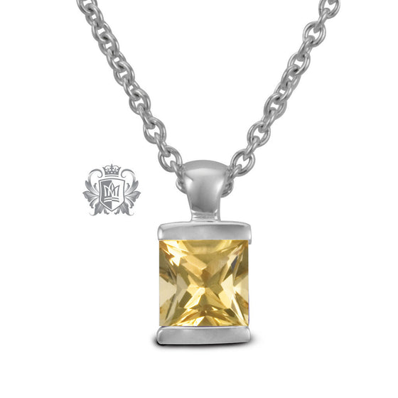 Channel Set Pendant - Citrine / 18 inch chain Gemstone Pendants - 4