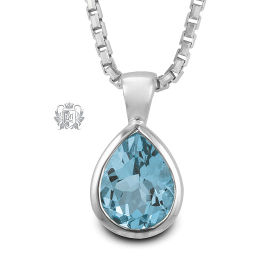 Blue Topaz Large Pear Shape Pendant Sterling Silver