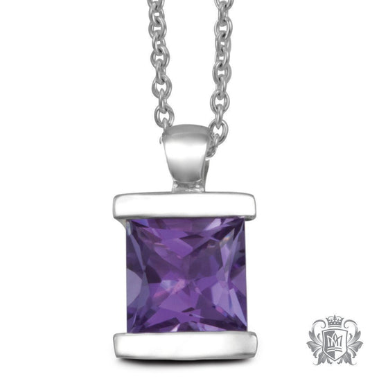 Large Channel Set Pendant - Amethyst / 18 inch chain Gemstone Pendants - 1