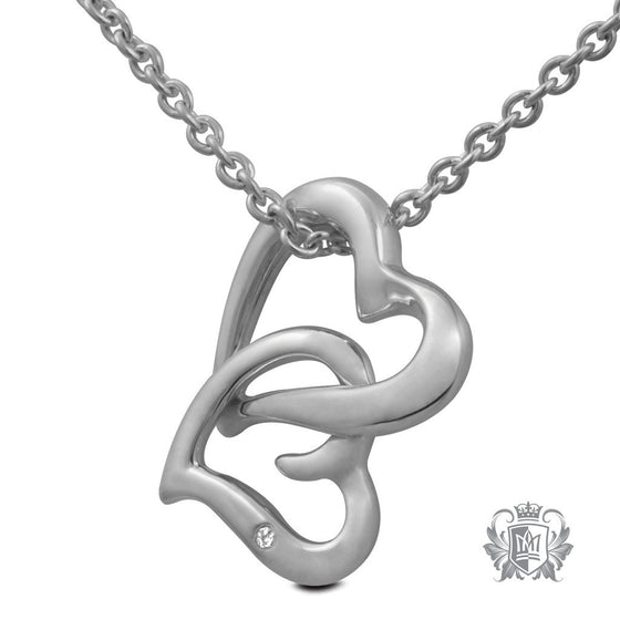 Metalsmiths Sterling Silver Diamond Double Heart Necklace