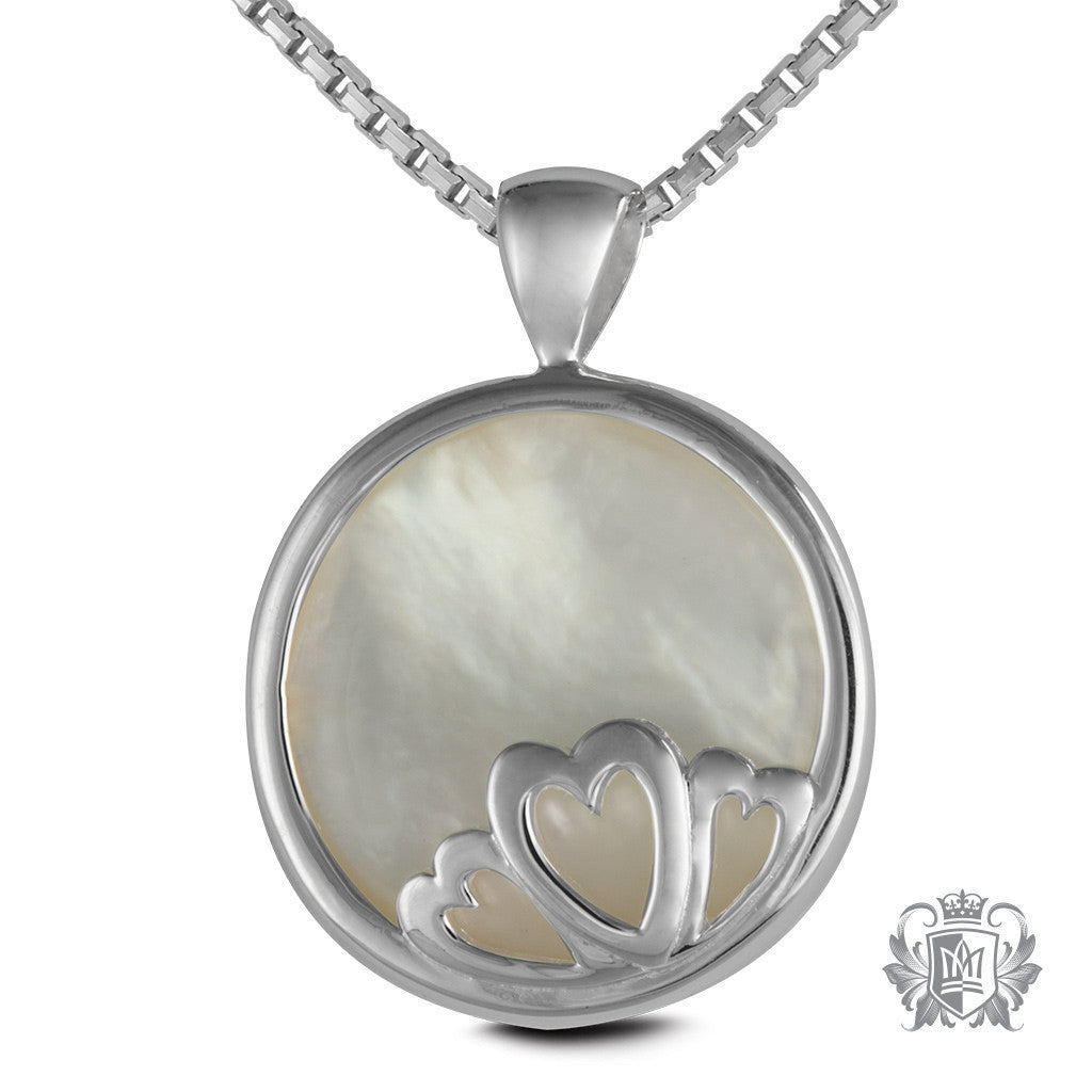 Mother of Pearl Heart Pendant - 18 inch chain Gemstone Pendants - 1