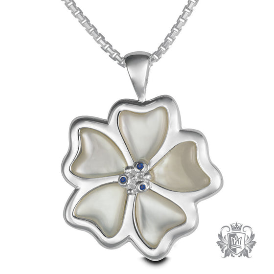 Inlay Pansy Pendant with Sapphire Accents - 18 inch chain Gemstone Pendants - 1