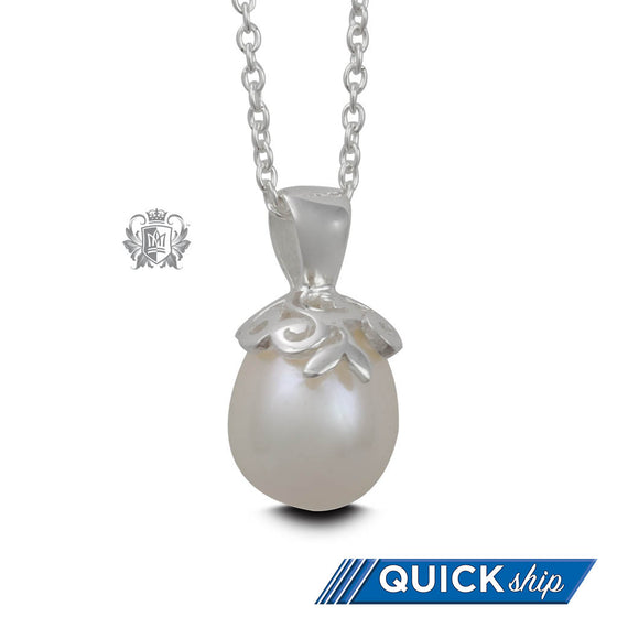 Quick Ship Curlicue Bloom Pearl Pendant