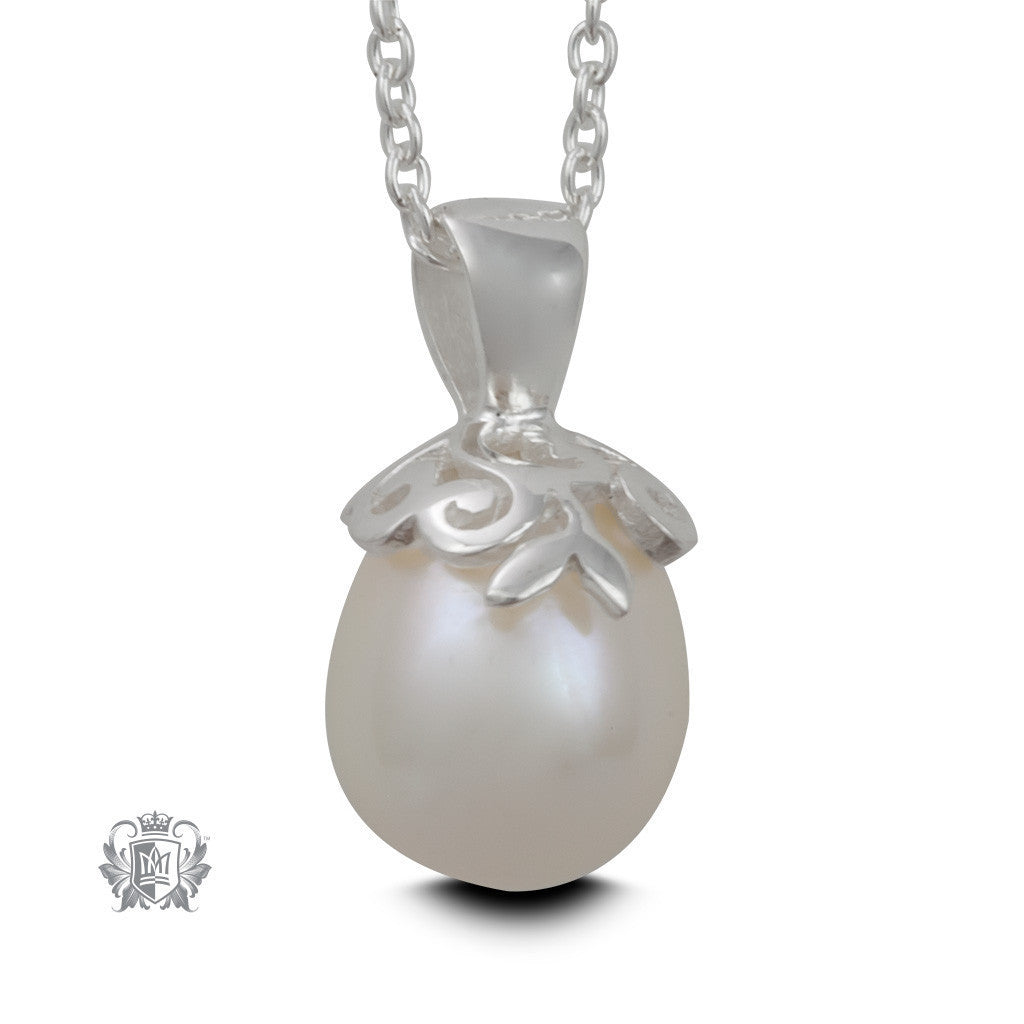 Curlicue Bloom Pearl Pendant - 18 inch chain Gemstone Pendants