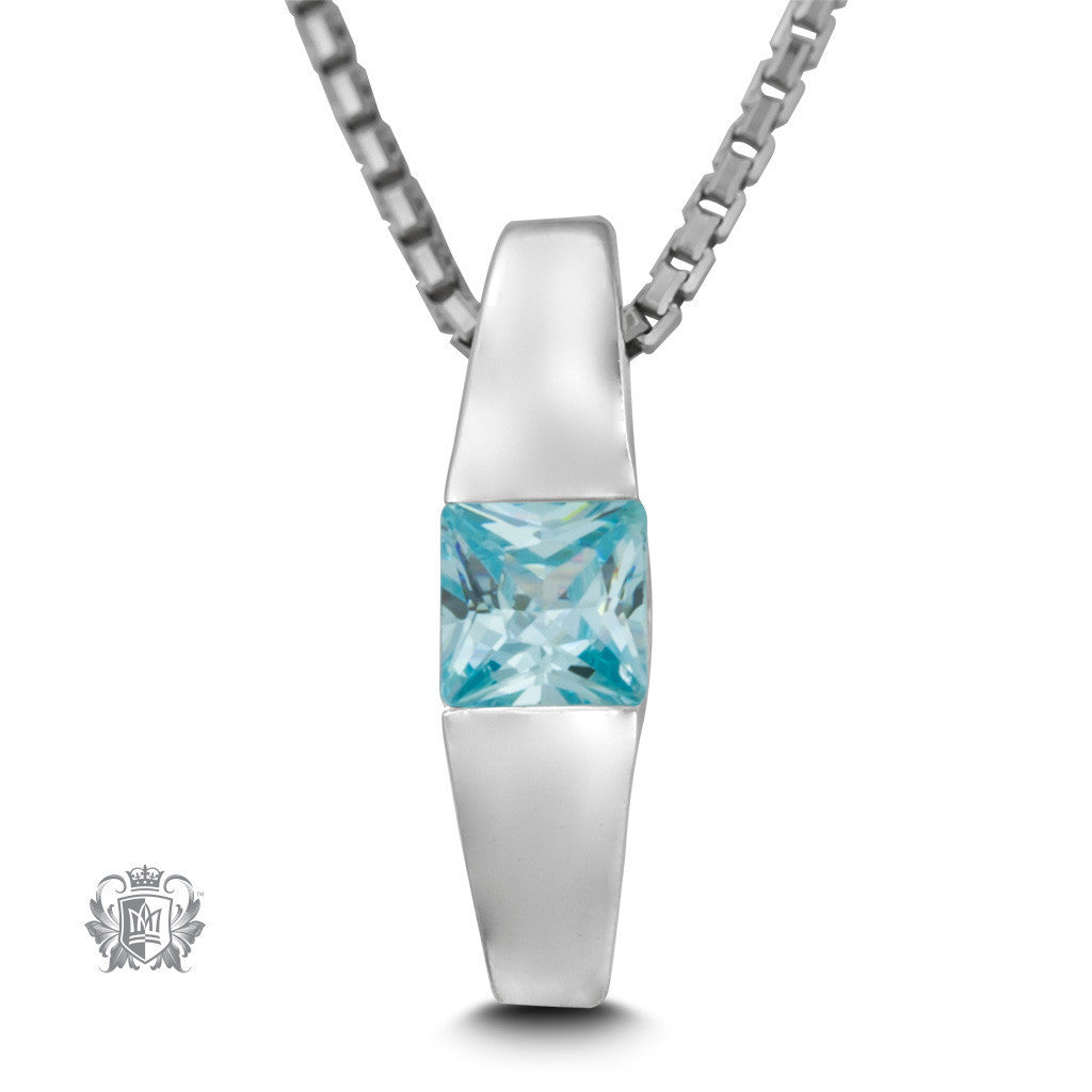 Square Channel Set Pendant - Blue topaz cubic / 18 inch chain Gemstone Pendants - 4