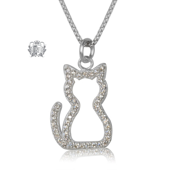 Metalsmiths Sterling Silver Sparkling Cat Pendant