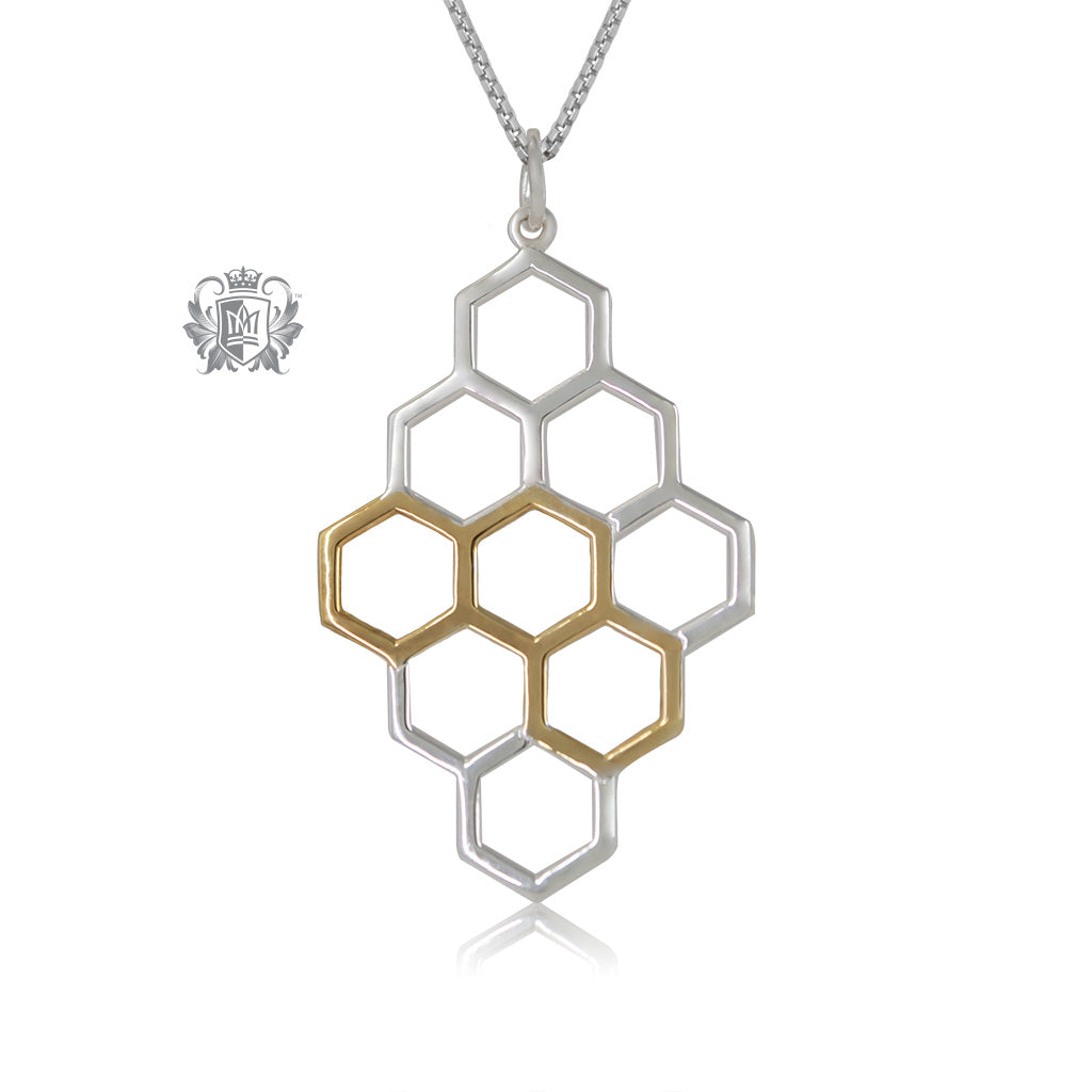 Metalsmiths Sterling Silver Gold Dipped Honeycomb Pendant