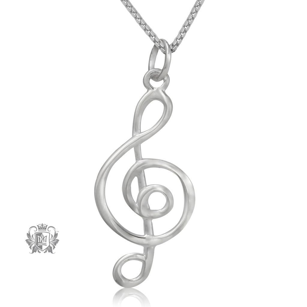 Modern Treble Clef Pendant Metalsmiths Sterling Silver