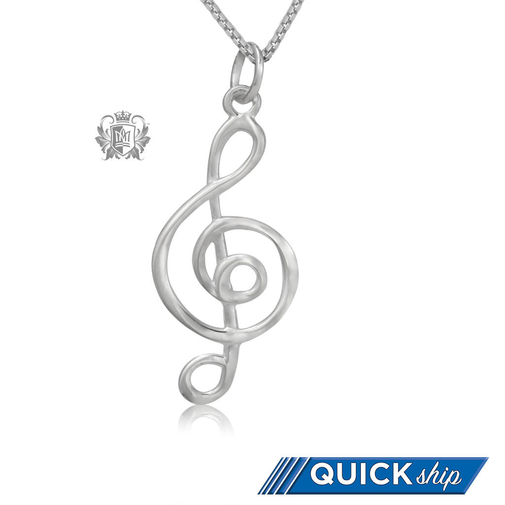 Quick Ship Modern Treble Clef Pendant Metalsmiths Sterling Silver