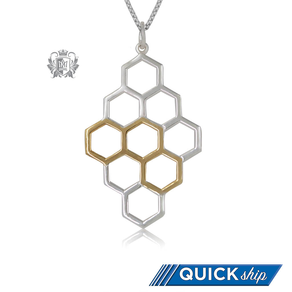 Quick Ship Metalsmiths Sterling Silver Gold Dipped Honeycomb Pendant