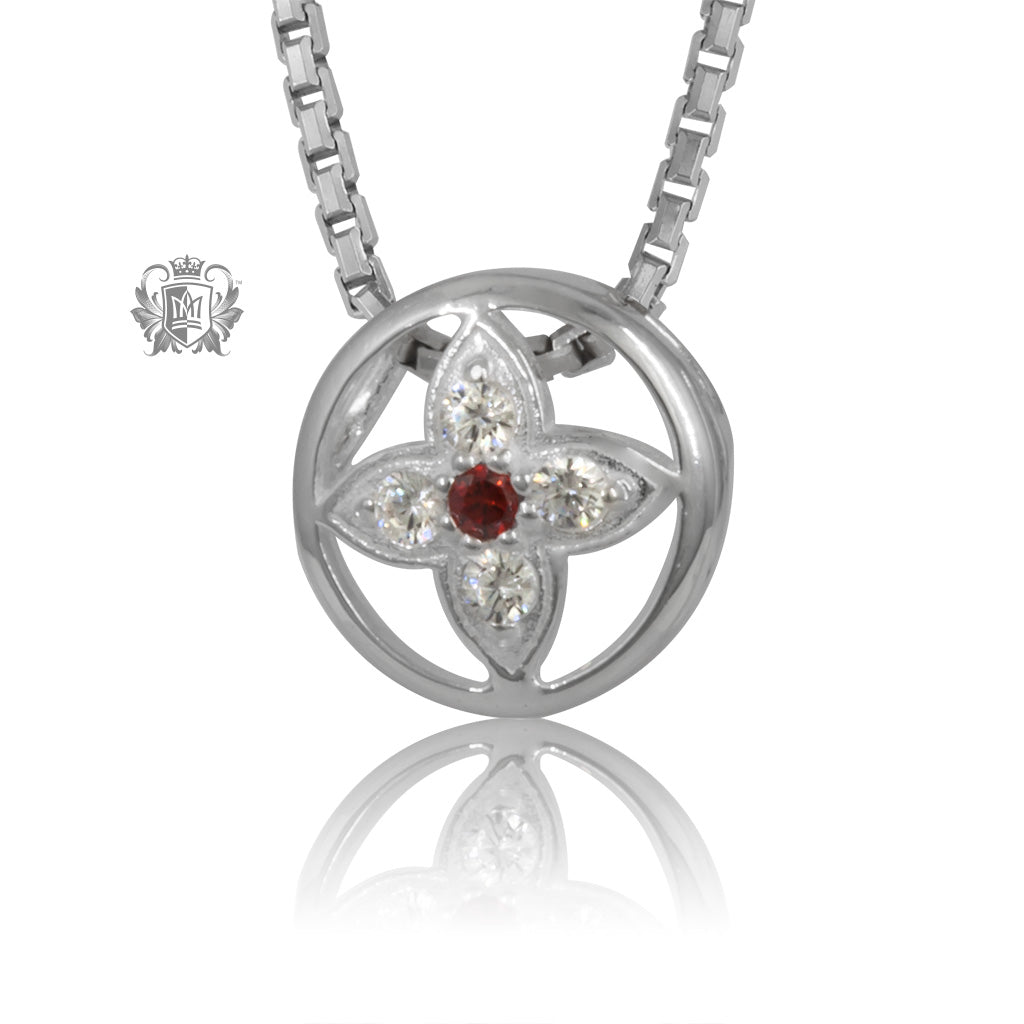 Garnet Red Dainty Star Flower Cubic Slider Pendant