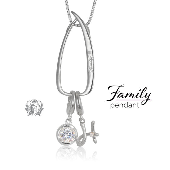 Modern Family Charm Keeper Pendant with charms Metalsmiths Sterling Silver