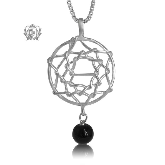 Dreamcatcher Pendant with Black Onyx Sterling Silver Necklace