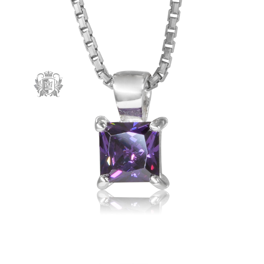 Amethyst Cubic Square Prong Set Pendant Sterling Silver