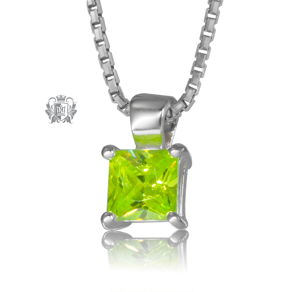 Peridot Cubic Square Prong Set Pendant Sterling Silver