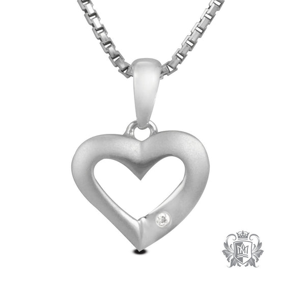 Metalsmiths Sterling Silver Flair Diamond Heart Pendant
