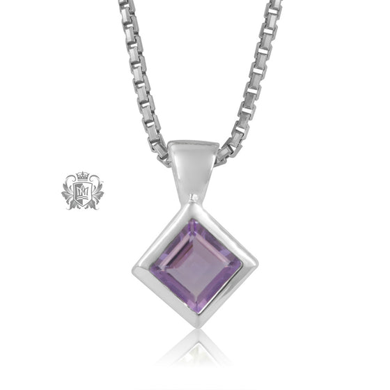 Amethyst Square Slope Pendant Sterling Silver