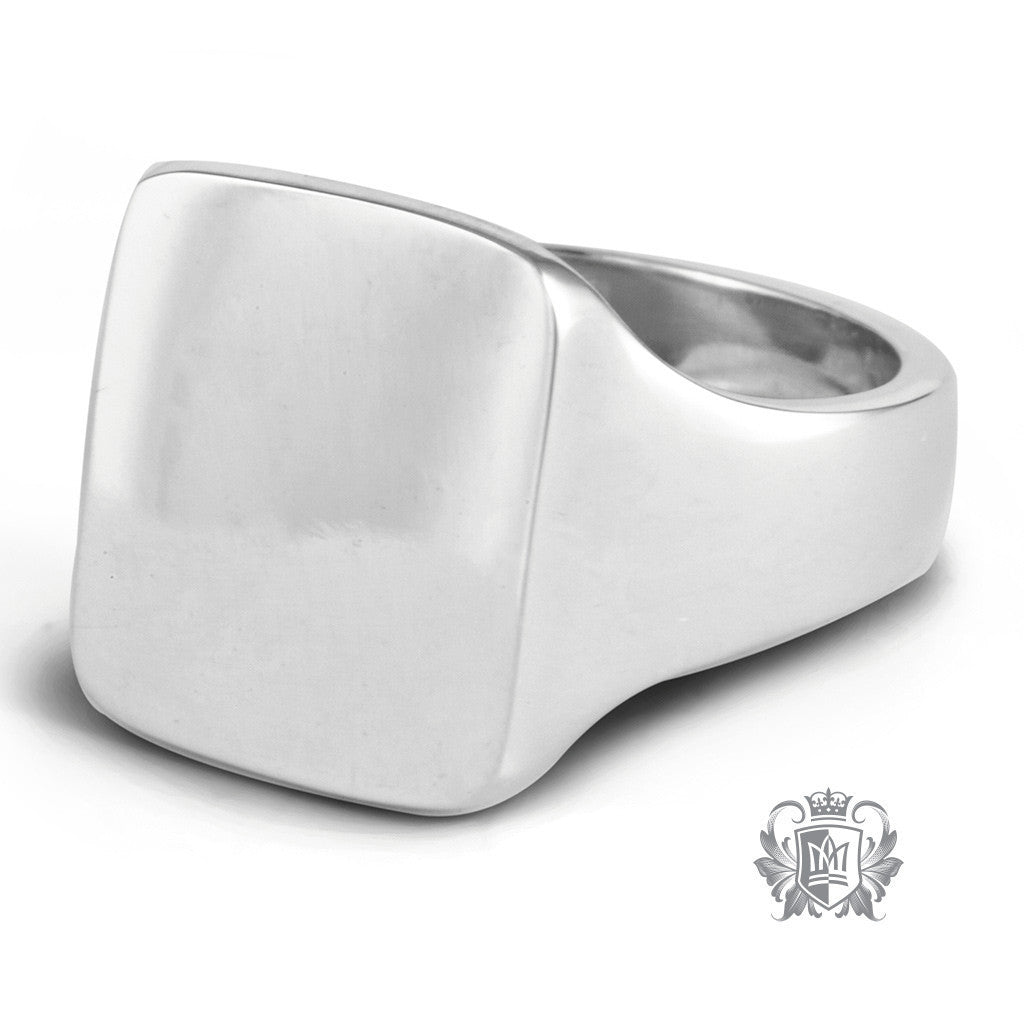 Large Square Top Signet Ring -  Rings - 2
