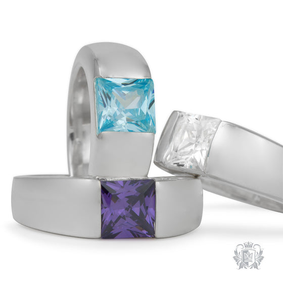 Square Channel Set Ring -  Gemstone RIngs - 1