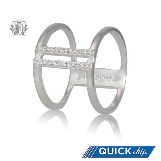 Metalsmiths Sterling Double Bar Sparkle Band Quick Ship