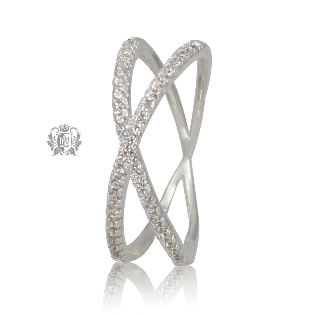 Metalsmiths Sterling Silver Crossover Sparkle Band