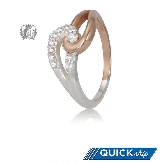 Quick Ship Metalsmiths Sterling Silver Rose Gold Dipped Embrace Loop Cubic Ring
