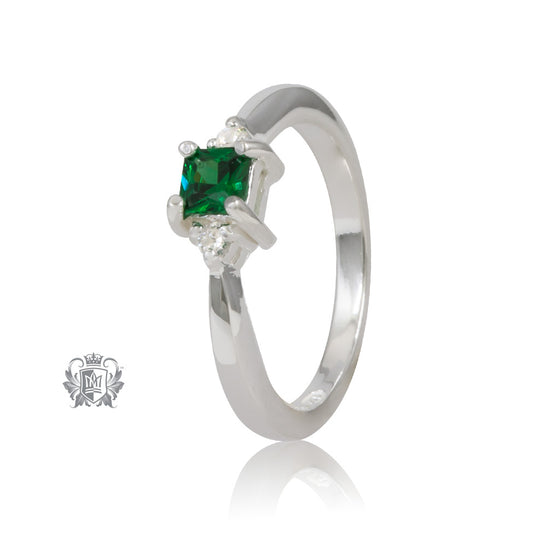 Square Trinity Emerald Cubic Ring