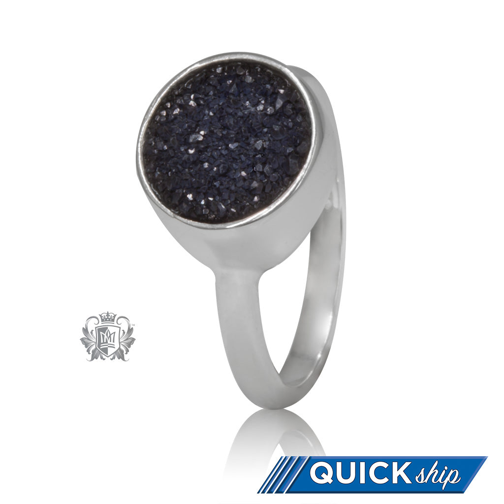 Druzy Round Bezel Set Ring