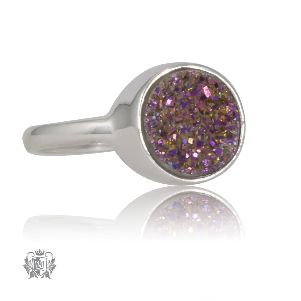 Plum Druzy Round Bezel Set Ring Metalsmiths Sterling Silver SIDE