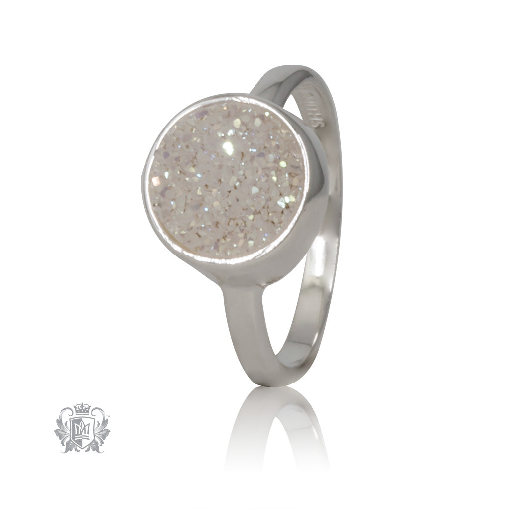 White Druzy Round Bezel Set Ring Metalsmiths Sterling Silver